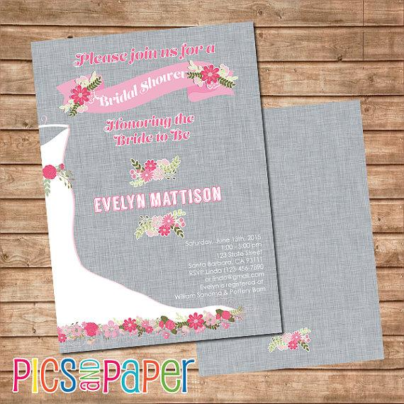 Hochzeit - Bridal Shower Invitation Pink and Gray with Wedding Gown and Flowers- Gray Linen Background