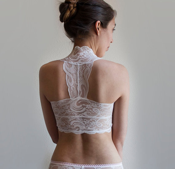 7bc801afbc0ddd Beautiful Scalloped Edge Lace Design. Halter Wireless Bra Top. Wide Straps.  Bridal Lingerie