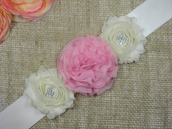 Hochzeit - Pink Flower Girl Sash - Flower Girl Dress Belt - Pink Flower Girl Sash - Pageant Sash Belt - Pink and Ivory or White Bridesmaid Sashes
