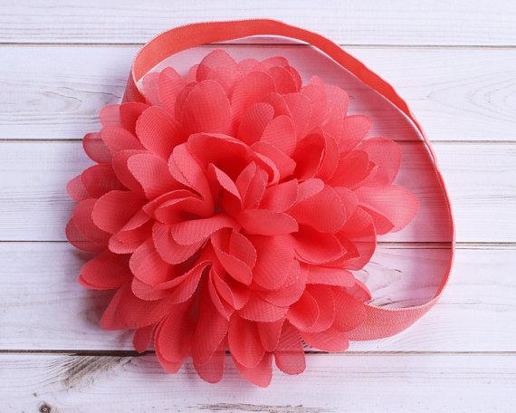 Hochzeit - Coral Baby Headband, Coral Wedding Headband, Coral Flower Girl Headband, Coral Chiffon Headband, Newborn Headband, Spring Summer Headband
