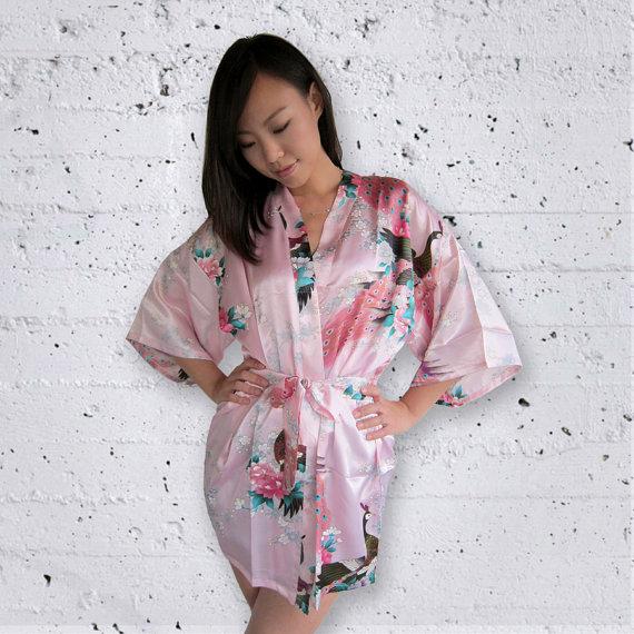 Свадьба - Ready to ship - Silk robe bridal kimono getting ready bridesmaids pale pink