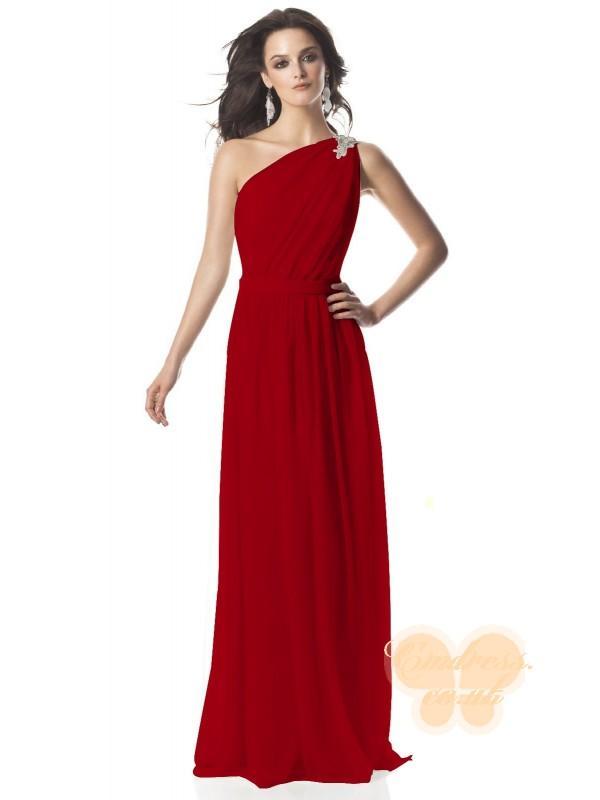 Свадьба - A-line Chiffon One Shoulder Natural Waist Floor-Length Zipper Sleeveless Brooch Ruching Red Bridesmaid Dress