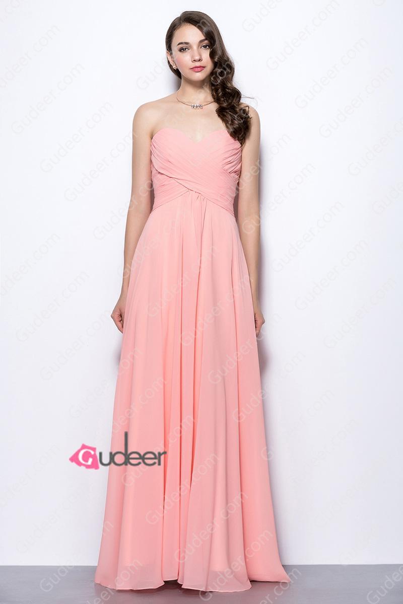 Wedding - Beautiful Coral Pink Strapless Criss-Cross Pleated Long Chiffon Bridesmaid Dress
