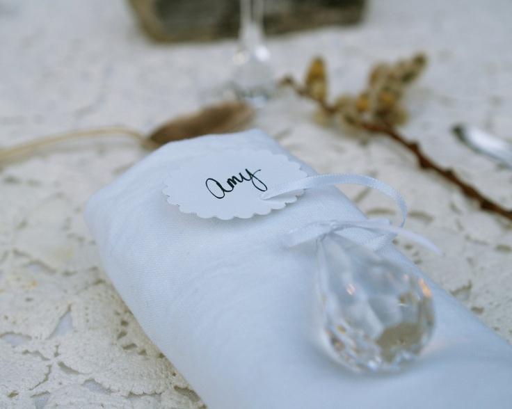 Свадьба - Spring Wedding Place Settings, Crystal & Cloud Card Favors 10 White Fairytale Classic Shabby Chic Country Theme Baby Shower Rain Raindrop