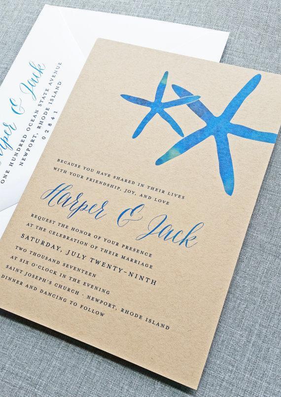 Свадьба - NEW Harper Watercolor Starfish Kraft Wedding Invitation - Rustic Beach Wedding Invitation