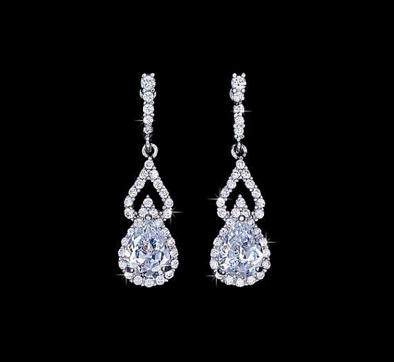 Mariage - Luxury Teardrop Cubic Zirconia Pave Dangle Wedding Earrings Pear Cut Bridal Earrings Bridesmaids Party Red Carpet Jewelry Diamond, AE0086