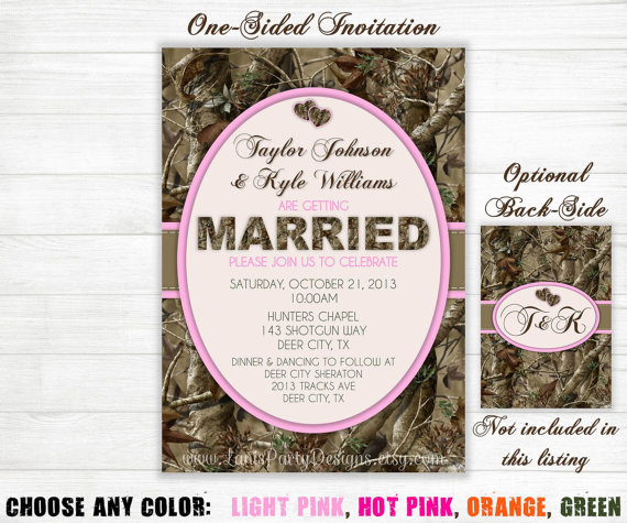 زفاف - Camo Wedding Invitation - Hunting Camouflage Orange Pink Purple Green - Invites Single-Sided DIY Printable JPEG PDF