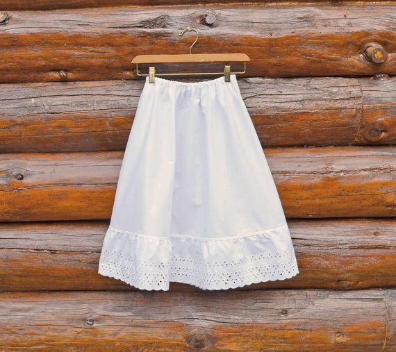 Свадьба - Ready to Ship XS White A-line Half Slip Extender Skirt Petticoat Lace Elastic Waist Modest Shabby Chic Cotton Mori Girl