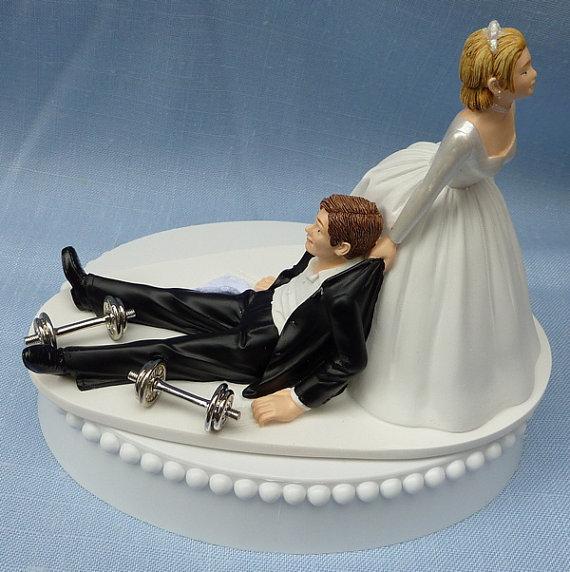 Bride Pulling Groom Wedding Cake Topper