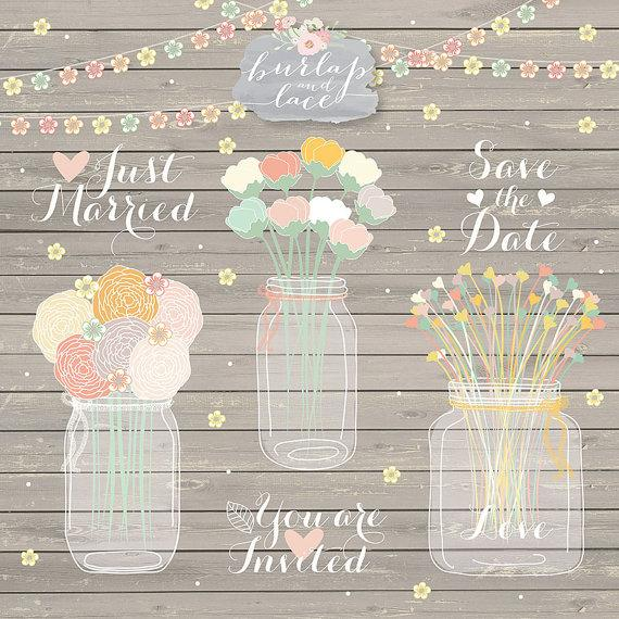 Hand Draw Mason Jar Wedding Invitation Clipart Rustic Country Invitations With Flowers Wood Grain Background