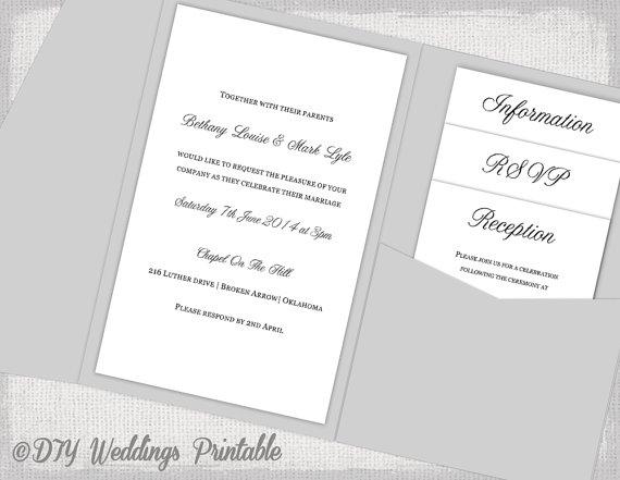 pocket wedding invitations template diy pocketfold wedding