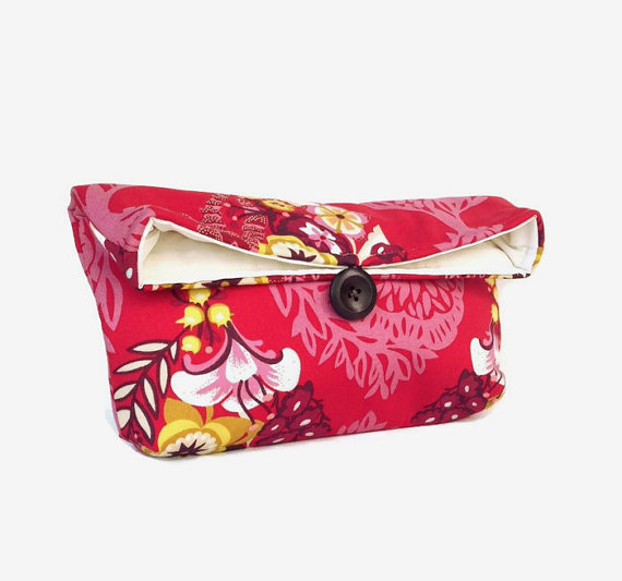 Red Clutch Purse Red Makeup Bag Red Bridesmaid Gift Wedding Accessory Bright Colorful Yellow ...