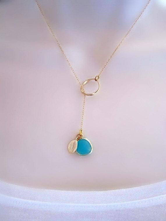 Mariage - Customized Gold Necklace, Aquamarine Bezel Necklace, Gold Leaf Charm, Mothers Necklace, mom gift, Wedding Jewelry, Dainty Gold Necklace