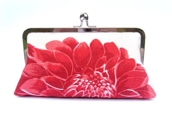 Bridal Clutch Bag Wedding Clutch Bridesmaid Clutch Red Floral Evening Clutch Clutch Purse ...