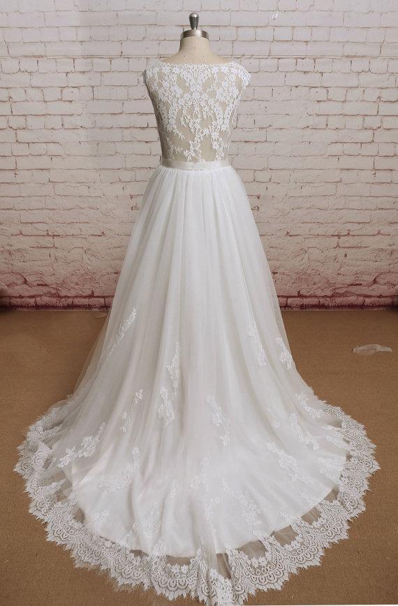 Wedding - Sheer Lace Back Wedding Dress, Sweetheart Neckline Wedding Dress, Lace&Chiffon Wedding Bridal Dress with Waistband