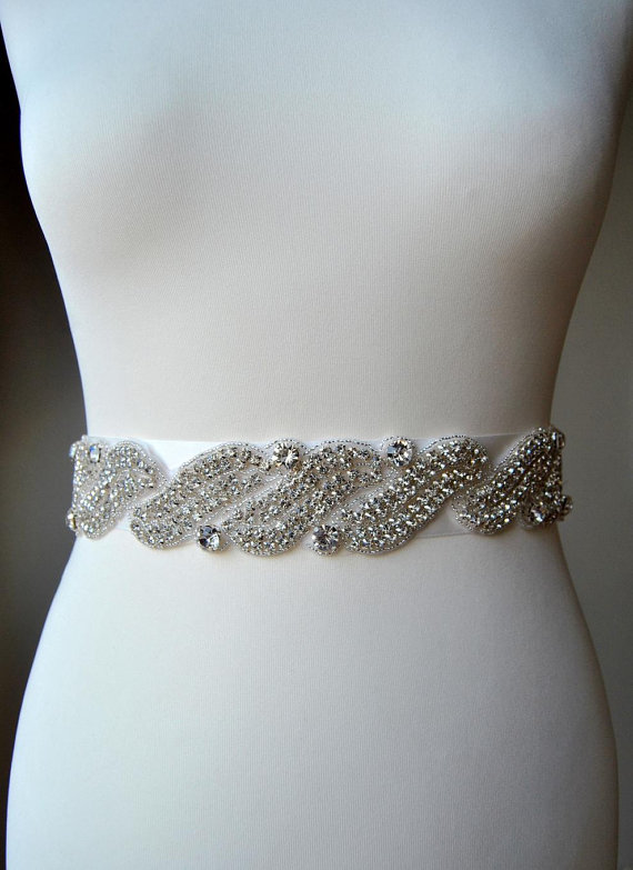 Crystal bridal sash wedding dress sash belt rhinestone for Rhinestone sashes for wedding dresses