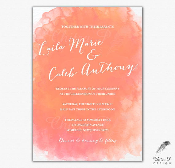 C Watercolor Wedding Invitation Printed Or Printable Orange Destination Beach Bridal Baby Shower Engagement Summer Tangerine