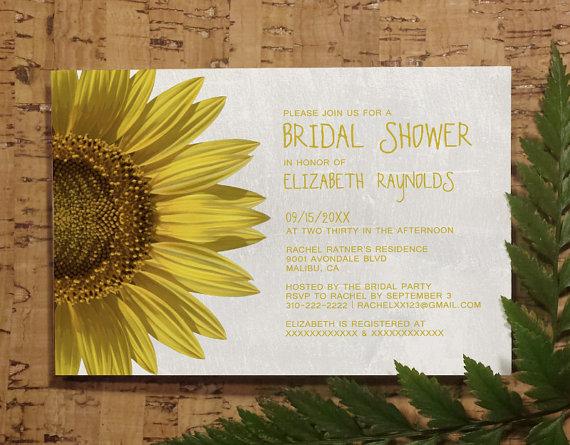 Свадьба - Sunflowers Bridal Invitations, Bridal Shower Invitations, Wedding Shower Party Invites, Printable, Digital PDF, DIY Template, Printed Cards