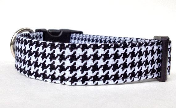 Свадьба - Houndstooth Dog Collar / Black & White Houndstooth Dog Collar / Black and White Dog Collar / Adjustable Dog Collar / Pet Collar