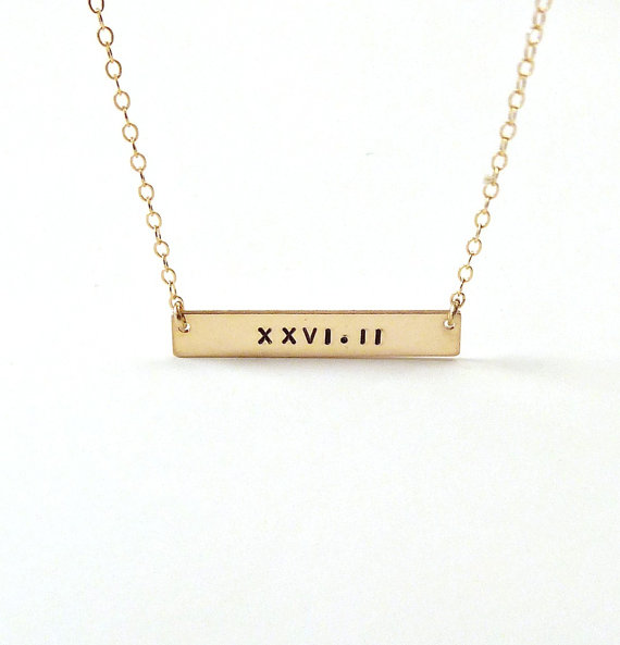 Mariage - Gold Bar Necklace Roman Numeral Name Necklace Personalized Jewelry Gifts Bridal Gift Engraved necklace Name plate necklace