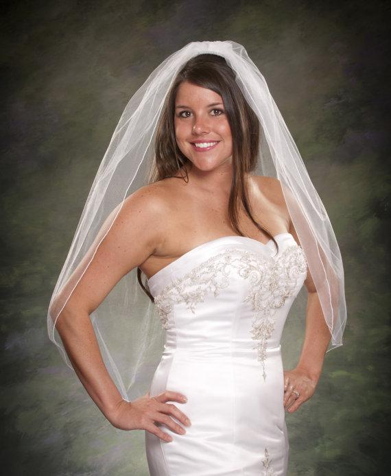 زفاف - Fingertip Wedding Veil Pencil Edge One Layer Ivory Bridal Veil 36 Inch White Tulle Veil