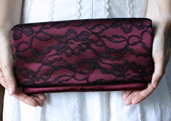 Wedding - The LENA CLUTCH - Dark Red and Black Lace Clutch - Wedding Clutch Purse - Bridesmaid Gift Idea - Burgundy Clutch