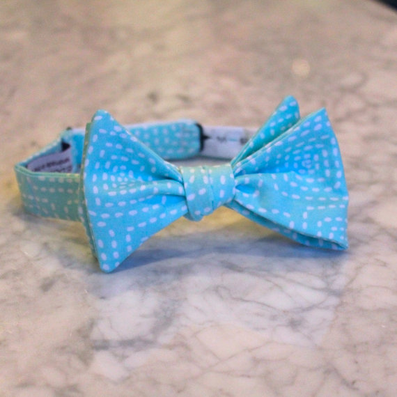 Mariage - Square Stitch in Aqua Blue Bow Tie - Self tying - freestyle - Groomsmen gift and ring bearer outfit