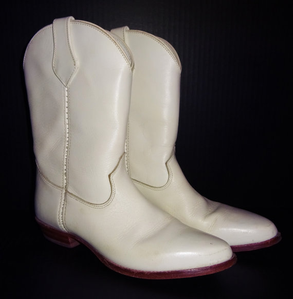 Vintage Frye Boots 8 White Leather Western Cowboy Wedding Shoes 2284310