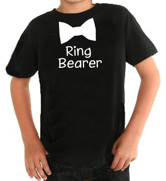 Mariage - Stylish Bow Tie Ring Bearer T-Shirt with Custom Wording