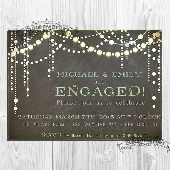 Wedding - Chalkboard Engagement Party Invitation Whimsical Sparkling Lights wedding invitations Printable Digital No351
