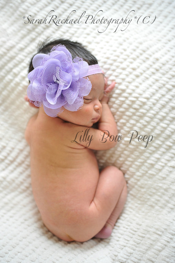 Baby Headband-Newborn Headband-Purple Lavender Lace Flower-Preemie-Newborn  Girl-Infant-Toddler-Child-Pretty-Vintage-Wedding-Baptism-Hair Bow 41cc4311105