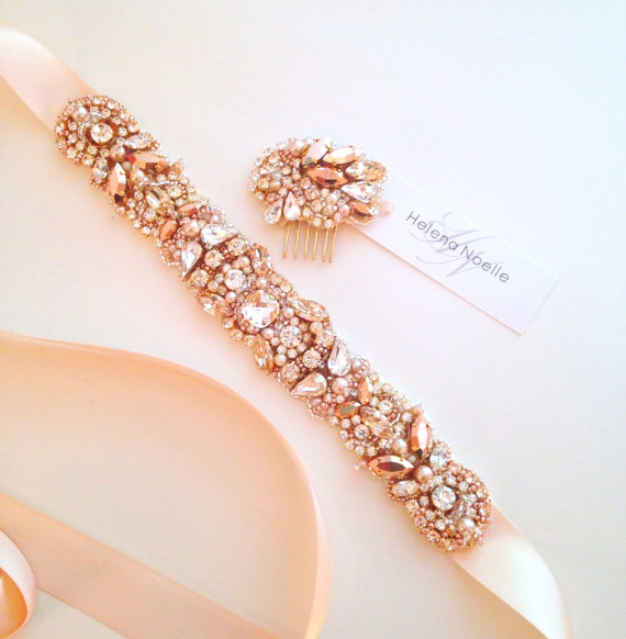 Wedding - Rose Gold and Blush Crystal Bridal Belt- Custom- Swarovski Crystal Bridal Sash- One-of-a-Kind Hand-Beaded -Vintage Glamour