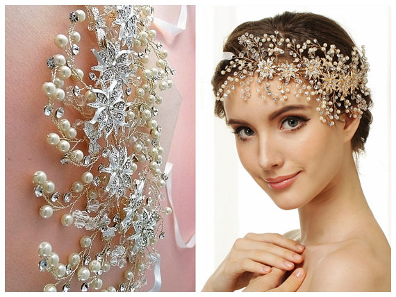 nature inspired hair vine gold or silver bridal