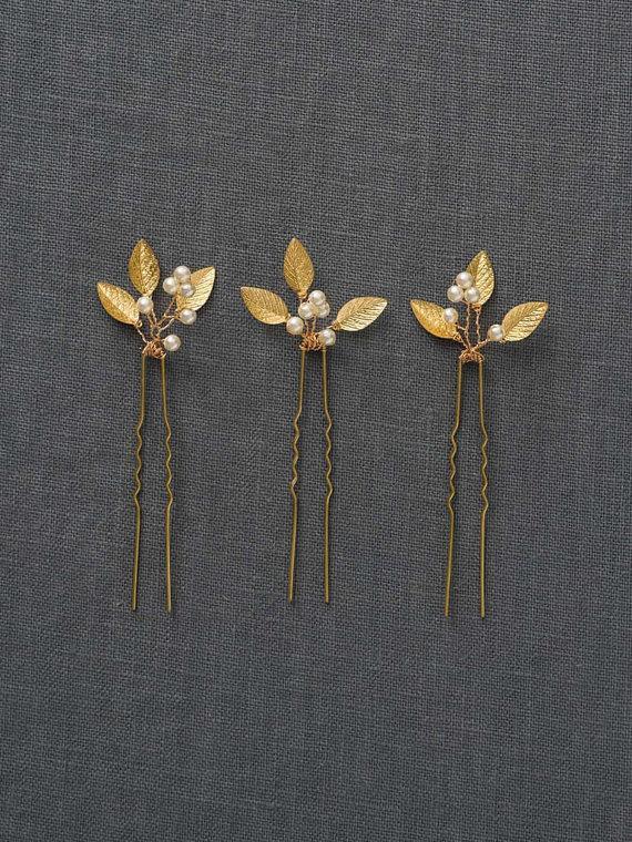 Свадьба - Gold Small Wedding Hair Combs