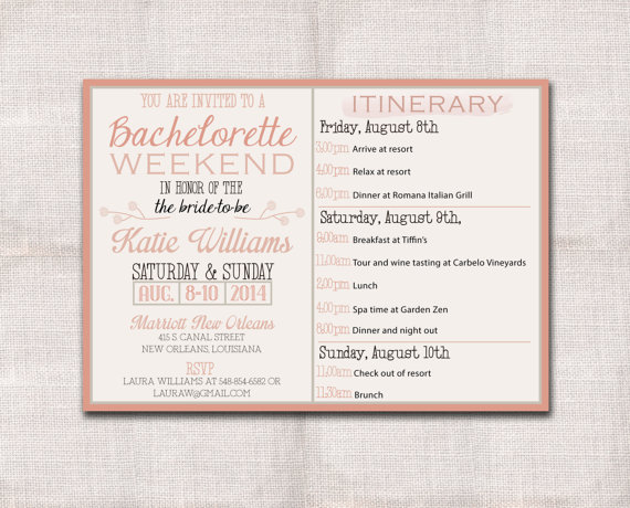 Свадьба - Bachelorette Party Weekend invitation and itinerary custom printable 5x7