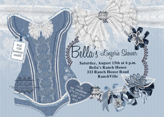 Shower Invitation Bachelorette Party Bridal Invitations Corset Burlesque
