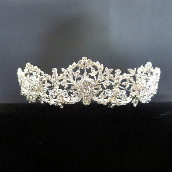 Hochzeit - Dramatic Bridal headpiece, Wedding tiara, Bridal tiara, Rhinestone Bridal headband, Vintage inspired headpiece
