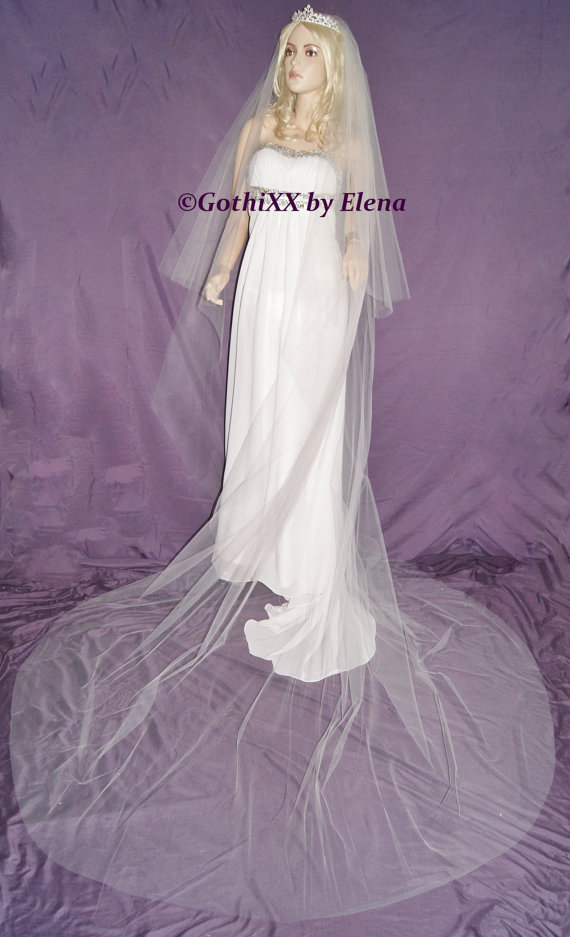 """Hochzeit - Wedding Veil Center Gather Cathedral Black Red Purple Pink Eggplant Beige  2 Tiers 108"""" Width 36"""" 108"""" Length Cut Edge 19 Colors available"""