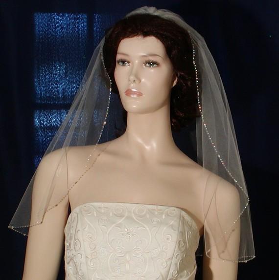 "Mariage - wedding veils beaded veils Crystal Beaded Edge 25"" long Bridal veil Swarovski Crystals Shining Rocaille Beads"