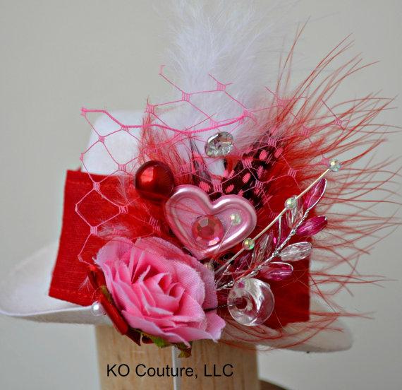 زفاف - Top Hat Fascinator, Valentines Heart