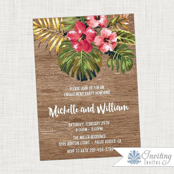 Свадьба - Tropical Engagement Party Invitation, Vintage, Rustic, Hibiscus, Palm Frond, Tropical