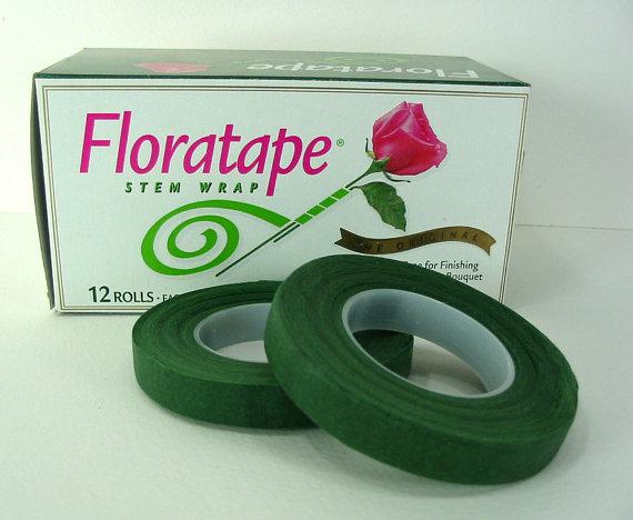"Mariage - Floral Tape Florist Stem Wrap Dark Green 1/2"" 30 Yards Professional Quality Bouquets Corsage Wedding Silk Flowers Crafts"
