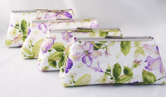Wedding - Floral Wedding Party Gift Handbag Clutch Spring Bridesmaids Gift Custom Made- Design your own
