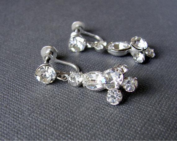 Rhinestone Dangle Screw Back Earrings Vintage Costume Jewelry
