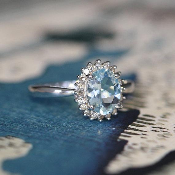 Свадьба - Diamond and Aquamarine Halo Engagement Ring in 14k White Gold Oval Aquamarine Ring March Birthstone Gemstone Ring, Size 7 (Resizable)