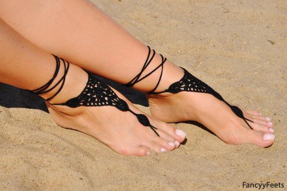 زفاف - Crochet Black Barefoot Sandals, Beach shoes, Foot jewelry, Bridesmaids gift, Barefoot sandle, Beach accessory, Wedding accessory