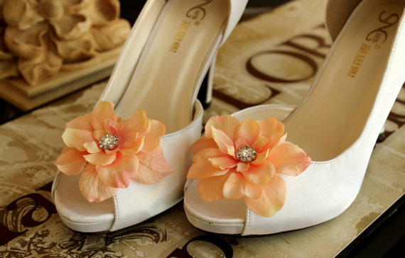 Свадьба - Sale 25% off Shoe clips Wedding Bridal  Light coral / Peach rhinestones Shoe Clips Bridal Flower Shoe Clips Weddings Bridal Accessories