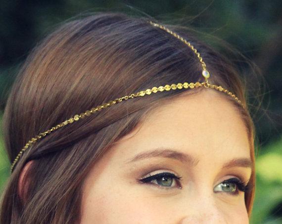 Mariage - CHAIN HEADPIECE- head chain headdress gypsy head piece