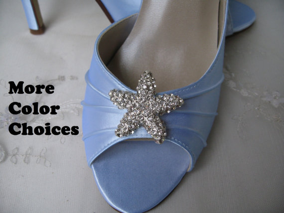 Mariage - Wedding Shoes Blue Bridal Shoes Crystal Starfish -100 Additional Colors To Pick From