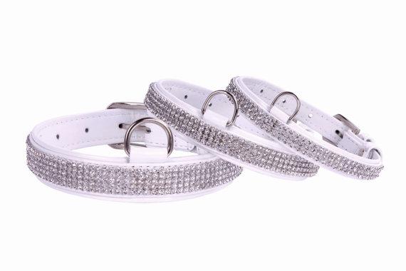 Свадьба - Wedding Dog Collar White Lacquered Leather Rhinestones Size XXS XS S M L XL